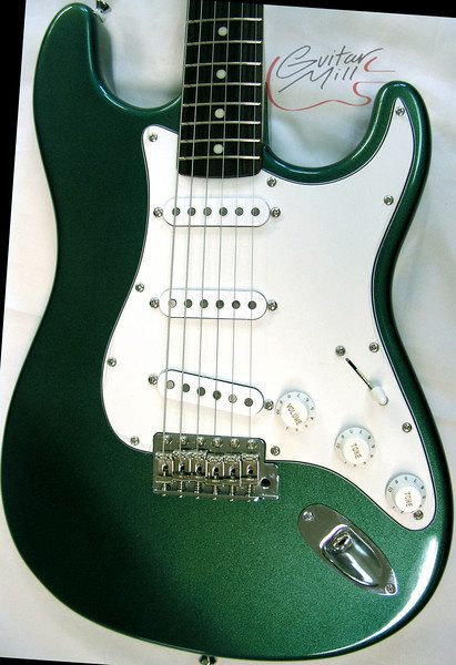 "An ""S"" style in 100% Nitrocellulose Sherwood Green Finish"
